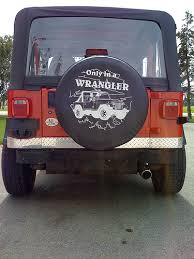 spare tire cover for jeep wrangler the spare tire cover of a jeep wrangler with a black top