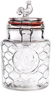 Glass Canisters Kitchen Amazon Com Palais U0027rooster U0027 High Quality Clear Glass Canister