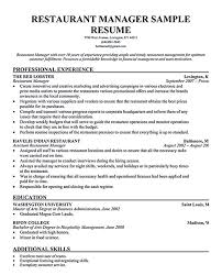 Assistant Manager Resume Example by Download Restaurant Management Resumes Haadyaooverbayresort Com