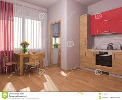 3d visualization of interior design kitchen in a studio apartment
