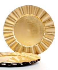 jay imports chargers ruffled set of 4 gold charger plates fine