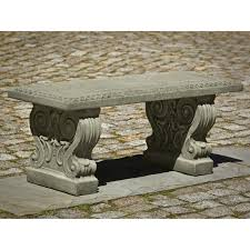 backless bench outdoor campania international classic garden cast stone backless garden