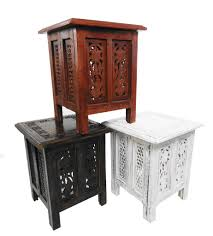 beautiful brown or white hand carved indian wooden table side