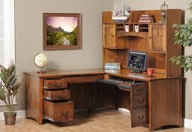 Brown Corner Desk Brown Corner Wood Desk With Shelves And Drawers