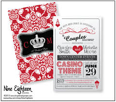 trendy casino theme s shower invitation 2sided