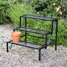 plant theatre plant terrace 3 tier metal plant stand in black