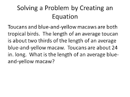 solving a problem by creating an equation