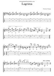 lagrima by francisco tarrega free classical guitar sheet