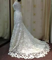 Wedding Dress With Train K1421 Satin Laser Cut Wedding Gown With Train Mon Belle Bridal