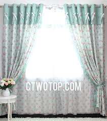 green fabric and red flower bow tie style polyester bedroom curtains