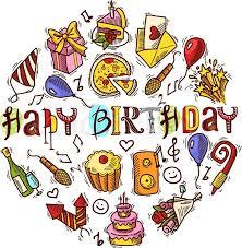 happy birthday party celebration colored decorative elements set
