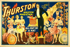 antique victorian magician poster chorus girls out of a hat