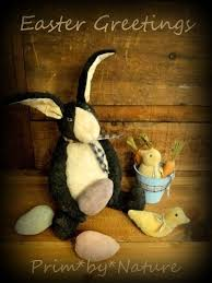primitive easter eggs primitive rabbit doll basket of carrots and easter eggs folk