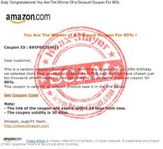 amazon black friday coupon deals phishing scam amazon 90 discount coupon email