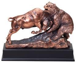 bull and bear bronze resin award sculpturetrophy trolley