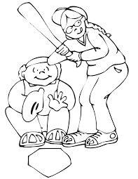 printable baseball coloring page catcher and batter