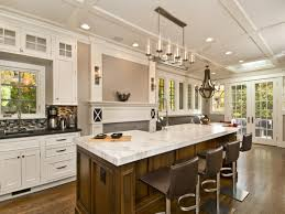 sublime modern chrome ceiling lights over large kitchen island