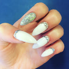 holographic silver and white acrylic nails with diamond detail