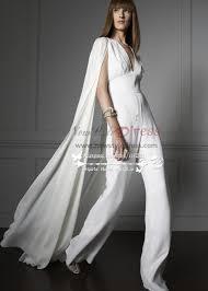 wedding dress jumpsuit bridal white chiffon jumpsuit wedding dress with cape wps 056