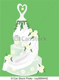 vector illustration of lovely pastel green wedding cake with a