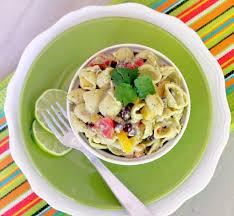 mexican pasta salad with toasted garlic and avocado greek yogurt