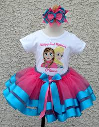 blue pink frozen sisters satin tutu skirt
