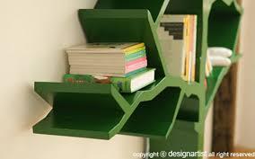 Green Bookcase Delightful Tree Shaped Bookshelf By Shawn Soh Inhabitots