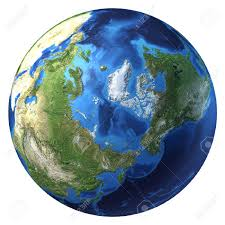 Realistic Map Of The World by Earth Globe Realistic 3 D Rendering Arctic View North Pole