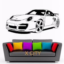decorative stickers picture more detailed picture about for for porsche 911 sports car club vinyl wall decal art decor sticker living room door stencil