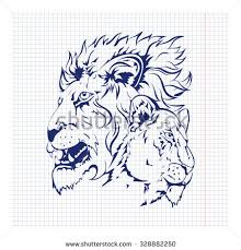 vector hand drawn sketch lions design stock vector 328882250