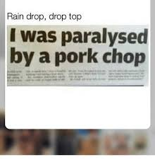 rain drop drop top i was paralysed by a pork chop meme on esmemes com