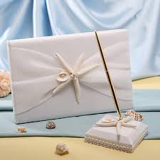 wedding guest book and pen set starfish sea shell themed wedding guest book and pen set