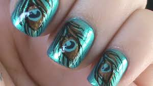peacock feather nail art youtube