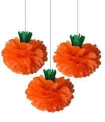 pumpkin tissue paper poms 3 set decorations