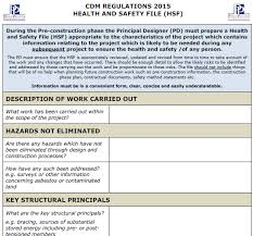 Cdm Health And Safety File Template cdm regulations 2015 h s file template pp construction safety