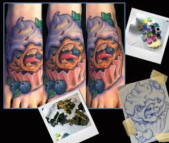 blueberry cupcake monster tattoo by scotty munster tattoonow