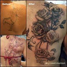 tattoo roses on shoulder black and grey rose tattoo cover up on back by kylie wild heslop