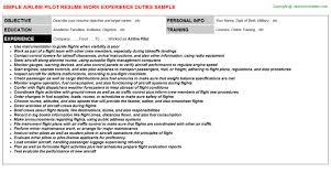 Resume For Airline Job Airline Pilot Job Title Docs