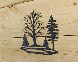 wooden pine tree wall metal tree wall etsy