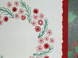 embroidered christmas embroidery on paper christmas cards assembled and decorated