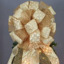 antique gold sparkle mesh swirl tree topper bow 13