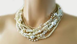 chunky pearl crystal necklace images Bridal pearl necklace pearl wedding necklace pearl choker jpg