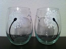 stemless wine glasses hand painted dandelion stemless wine glasses set of 2