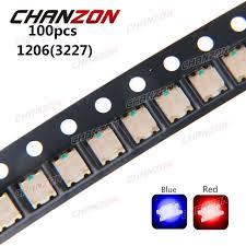 electronic components led lights 100pcs smd 1206 3227 bicolor blue and red smt chip 20ma dc 2v