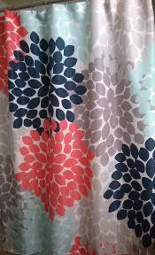 Navy And Pink Curtains Floral Shower Curtain In Trending Navy Coral Aqua And Gray