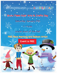 snow flake kids u0027 arts u0026 craft day wonderland of the americas mall
