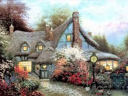 paintings of 4 sweetheart cottage kinkade for sale