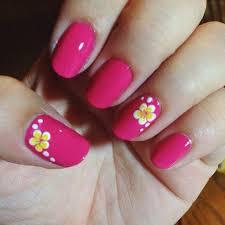 awesome my hawaiian plumeria flower nail art over fuchsia nails