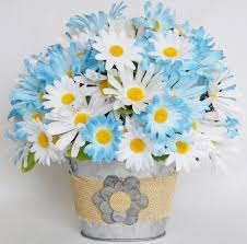 silk flower arrangement blue daisies white daisies metal