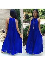 maxi dresses royal blue pleated tie back sleeveless halter neck a line bohemian